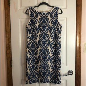 Jax Womens Blue Embroidered Sleeveless Dress